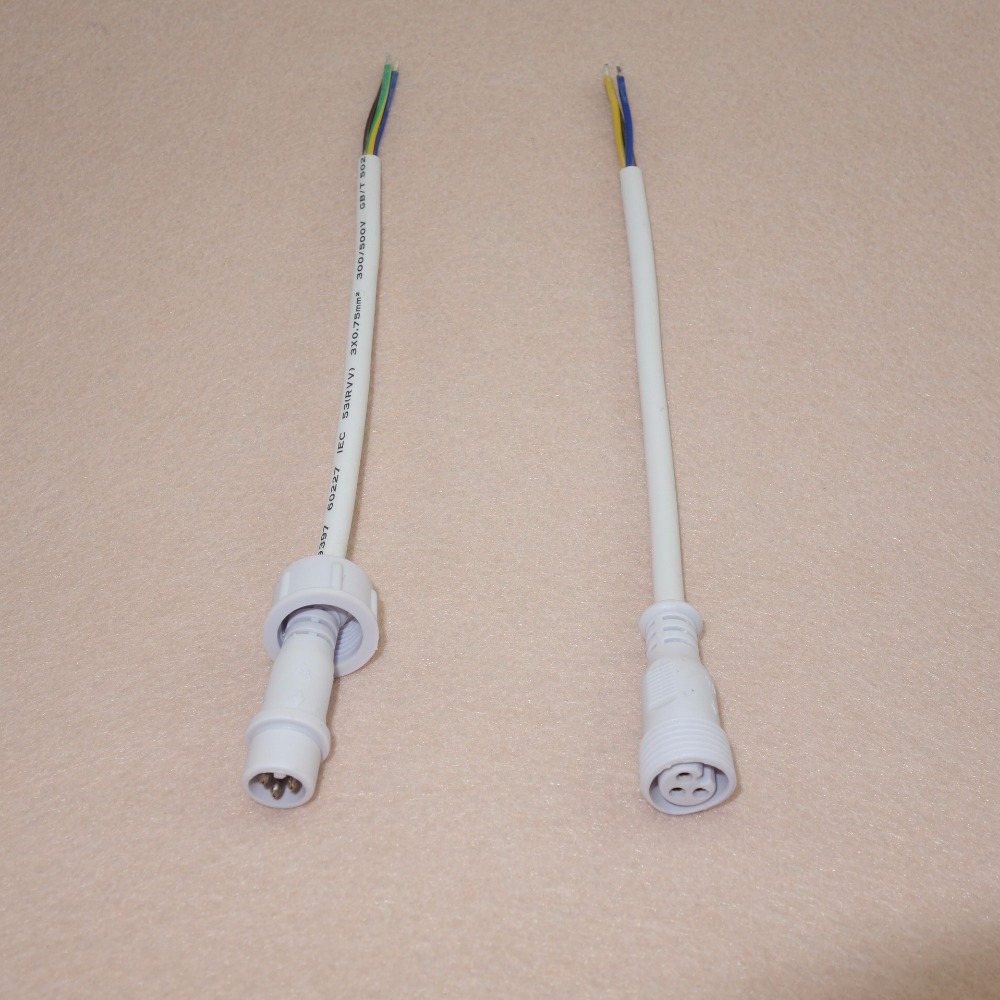 30cm-long-each-3-Core-White-Waterproof-pigtail-male-and-female-male-connector-s-diameter-13